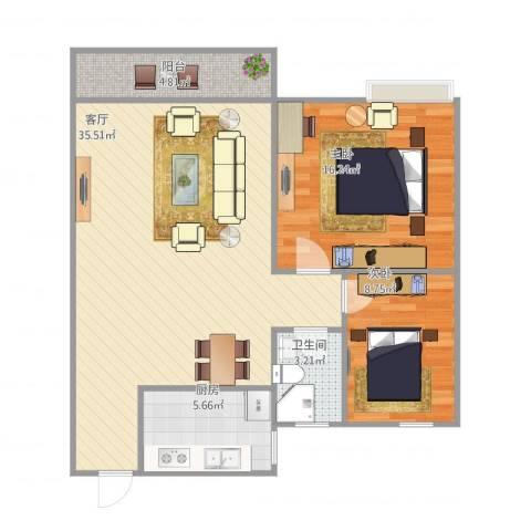 日高卡卡2室1厅1卫1厨99.00㎡户型图
