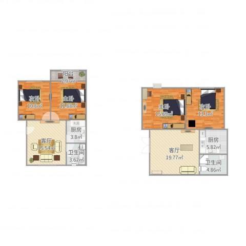 平阳三村4室2厅2卫2厨144.00㎡户型图