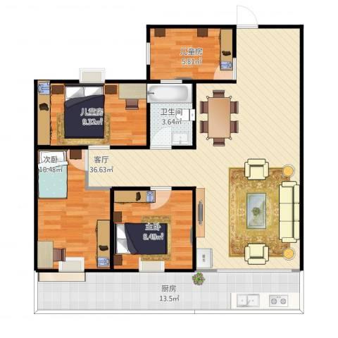 怡和苑4室1厅1卫1厨118.00㎡户型图