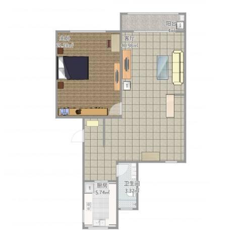 清河路202弄小区1室1厅1卫1厨100.00㎡户型图