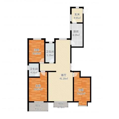 西部枫景傲城3室1厅2卫1厨155.00㎡户型图