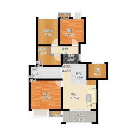 复地新都国际2室1厅5卫1厨107.00㎡户型图