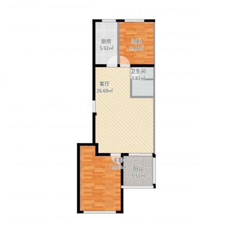 和利水岸名都2室1厅1卫1厨73.34㎡户型图
