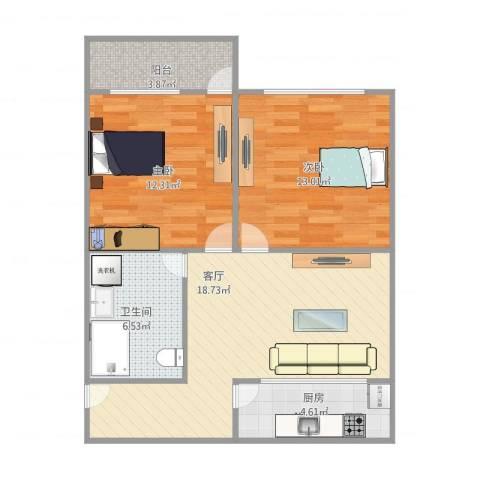 环镇北路400弄小区2室1厅1卫1厨80.00㎡户型图