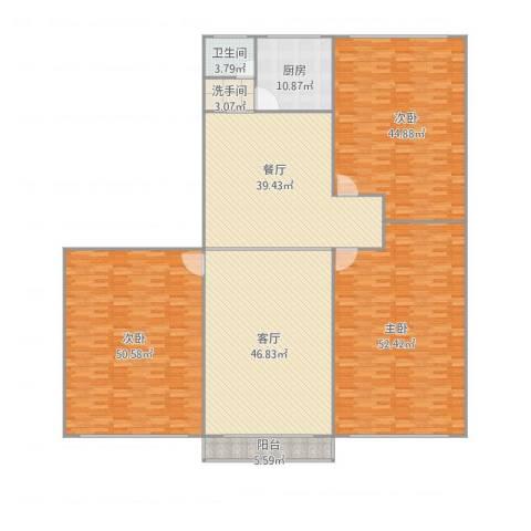 新浩城北区3室2厅1卫1厨336.00㎡户型图