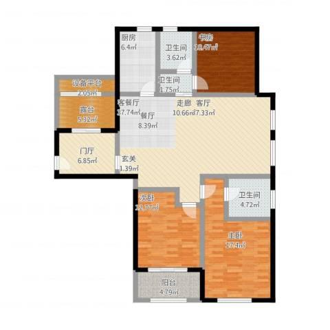 国华天玺3室1厅3卫1厨165.00㎡户型图