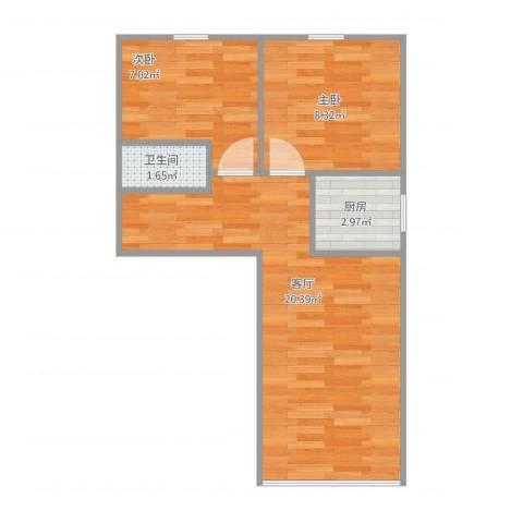 兴政西里2室1厅1卫1厨55.00㎡户型图