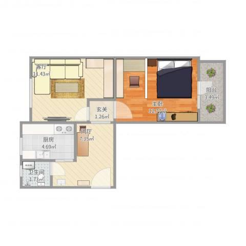 清华大学青年公寓1室1厅1卫1厨59.00㎡户型图