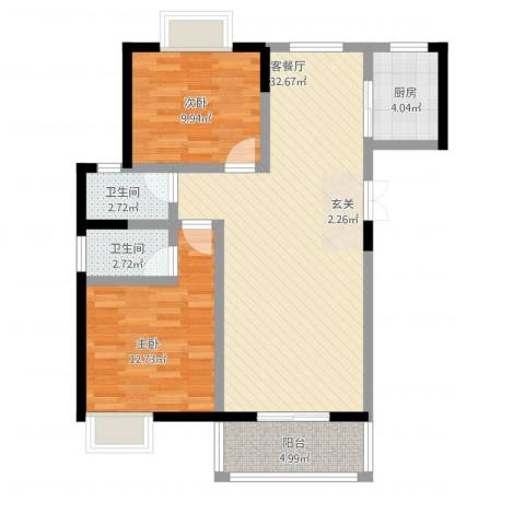龙泽花园2室1厅2卫1厨101.00㎡户型图