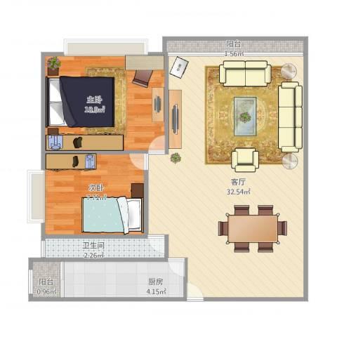朗晴轩2室1厅1卫1厨81.00㎡户型图