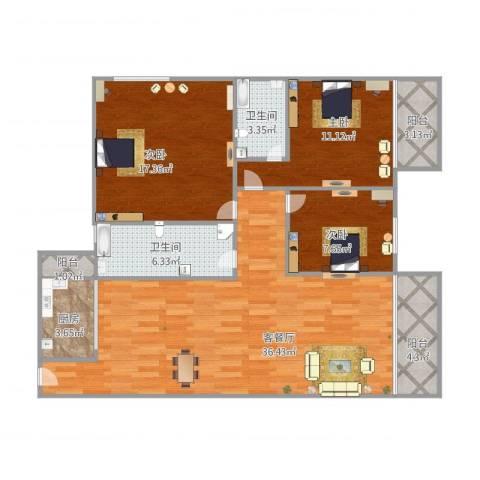 银骏豪庭3室1厅2卫1厨128.00㎡户型图