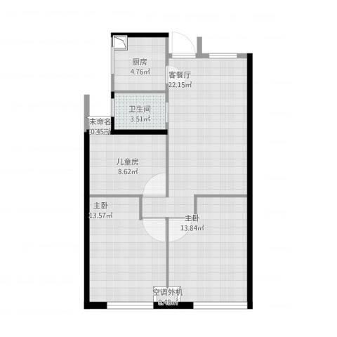 新城悠活城3室1厅1卫1厨94.00㎡户型图