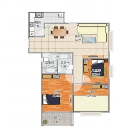万象未央3室1厅2卫1厨123.00㎡户型图