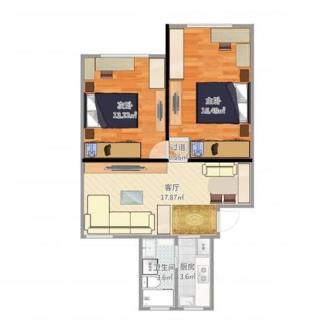 翔殷路505弄小区2室1厅1卫1厨59.62㎡户型图