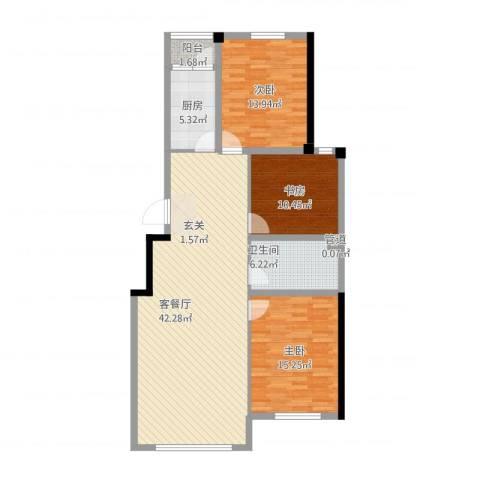 河畔丽景3室1厅1卫1厨133.00㎡户型图