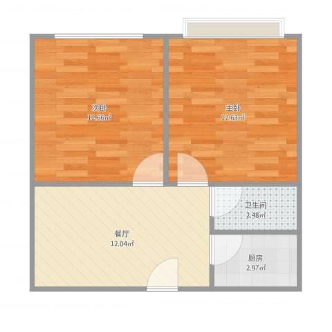 鹏宏苑2室1厅1卫1厨58.00㎡户型图