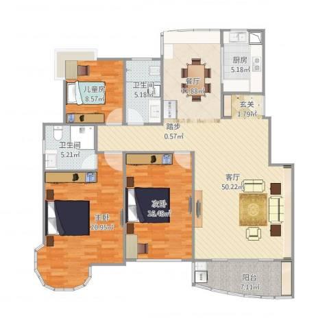 江信国际花园4-1-6023室1厅2卫1厨159.00㎡户型图