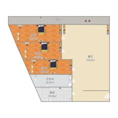 天龙华鹤(天下儒寓)3室1厅1卫1厨681.00㎡户型图