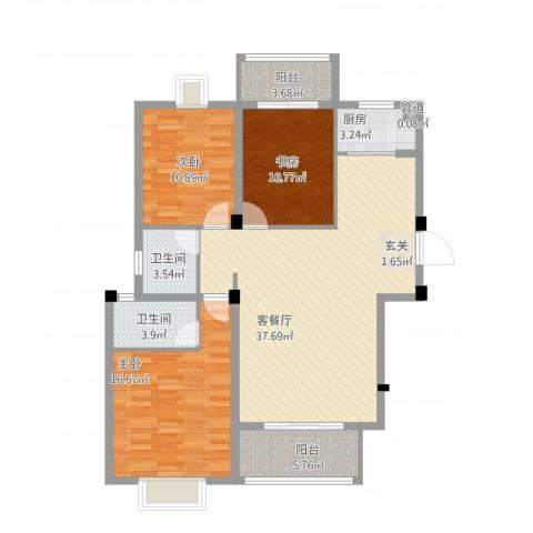 华府豪庭二期3室1厅3卫1厨136.00㎡户型图