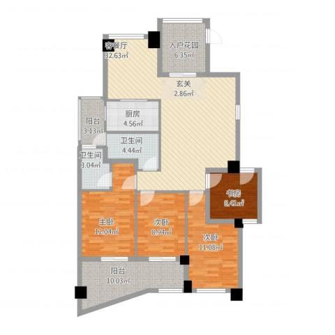 郦景阳光二期4室1厅2卫1厨148.00㎡户型图