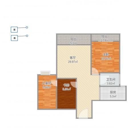 筼筜书院3室1厅1卫1厨107.00㎡户型图