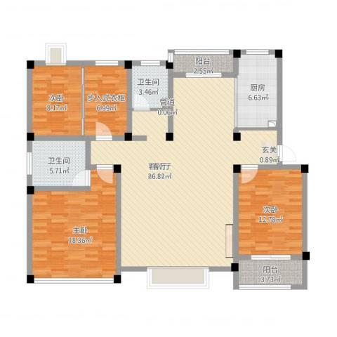 永兴花园3室1厅3卫1厨169.00㎡户型图
