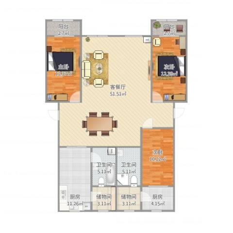 万兴凤凰花园3室1厅2卫2厨166.00㎡户型图