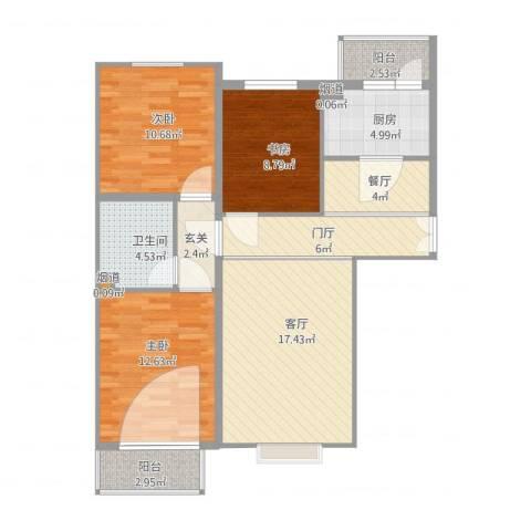 京润现代城3室2厅3卫1厨108.00㎡户型图