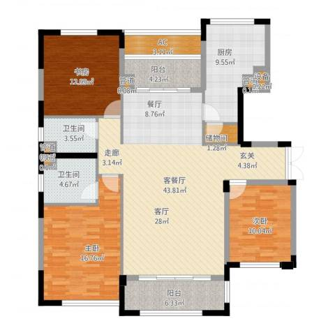 太湖锦园3室1厅2卫1厨167.00㎡户型图