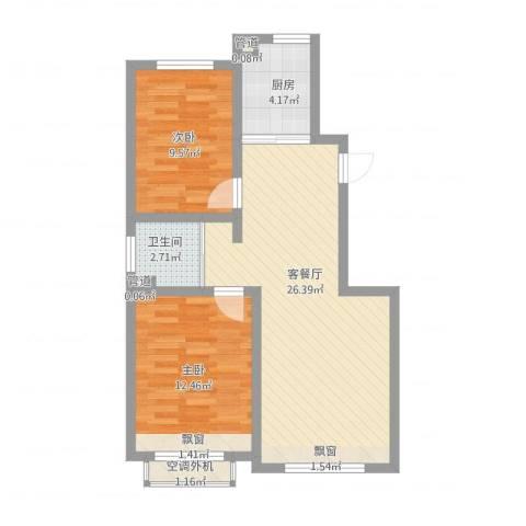 大禹褐石公园2室1厅2卫3厨82.00㎡户型图