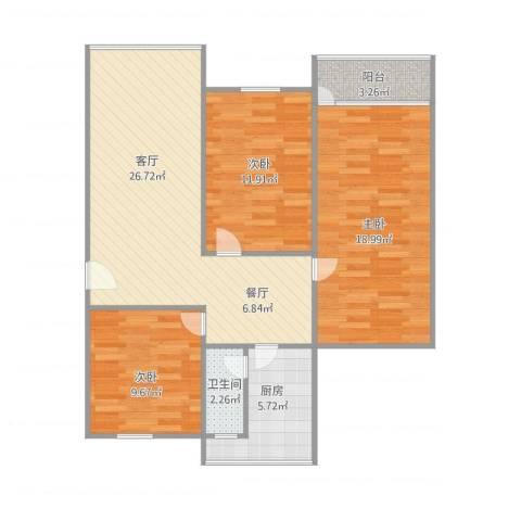 红棉苑3室1厅1卫1厨106.00㎡户型图