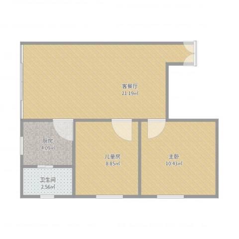 源林花园2室1厅1卫1厨64.00㎡户型图