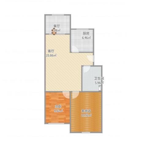 春山华居2室2厅1卫1厨75.06㎡户型图