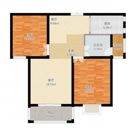 九悦鸿城2室1厅2卫1厨120.00㎡户型图