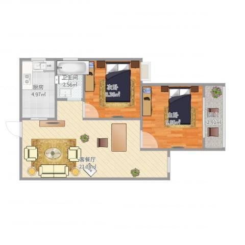 龙泉花园2室1厅1卫1厨68.00㎡户型图