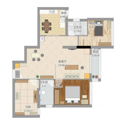 深圳蔡屋围丽晶大厦3室1厅1卫1厨117.00㎡户型图