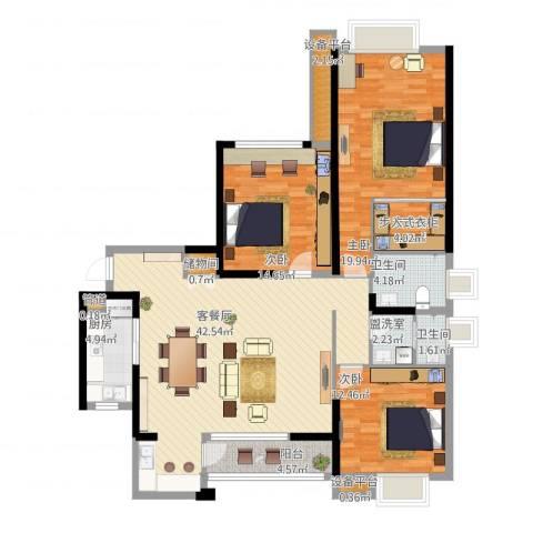 中海琴台华府3室2厅5卫2厨163.00㎡户型图