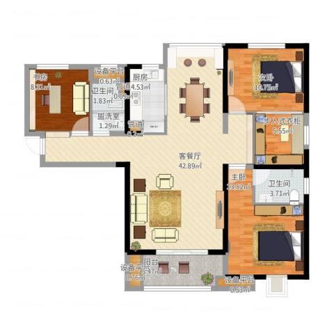 中海琴台华府3室2厅2卫1厨145.00㎡户型图