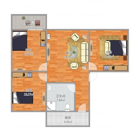 金牛小区3室1厅1卫1厨108.00㎡户型图