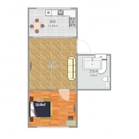 玉兰小区1室1厅1卫1厨79.00㎡户型图