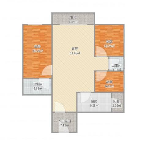 保利花园二期23栋1单元16013室1厅2卫1厨181.00㎡户型图