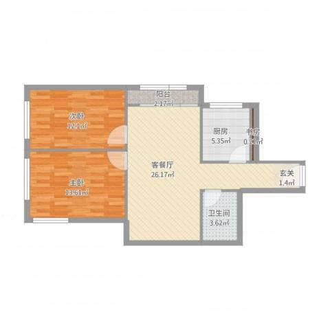 南湖东园一区3室1厅1卫1厨88.00㎡户型图