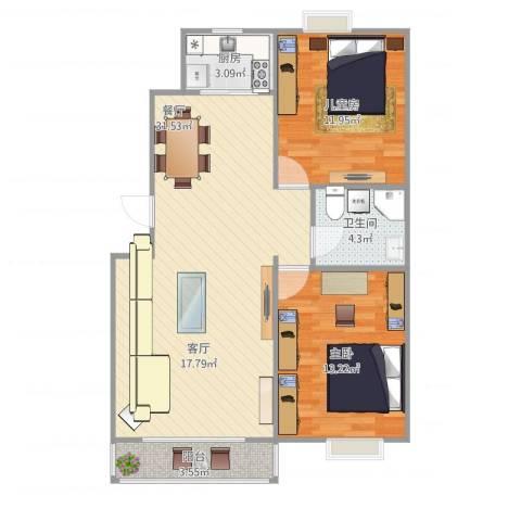 华鸿家园2室1厅1卫1厨91.00㎡户型图