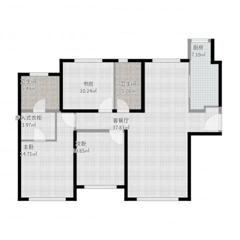 融创洞庭路壹号3室1厅2卫1厨133.00㎡户型图