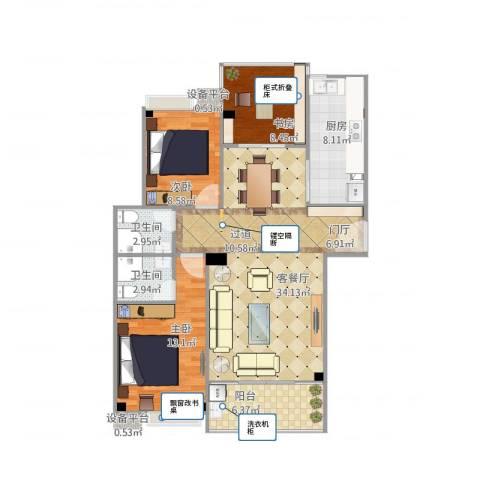 武夷嘉园15#C13室1厅2卫1厨115.00㎡户型图