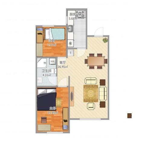 大运河孔雀城2室1厅1卫1厨74.00㎡户型图