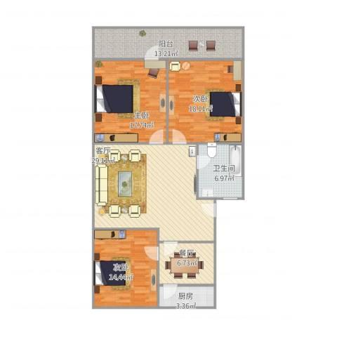 东莱花园3室2厅1卫1厨146.00㎡户型图