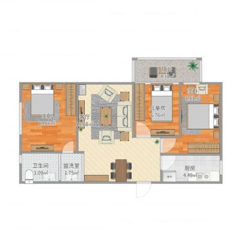 新奥洋房3室2厅1卫1厨80.00㎡户型图