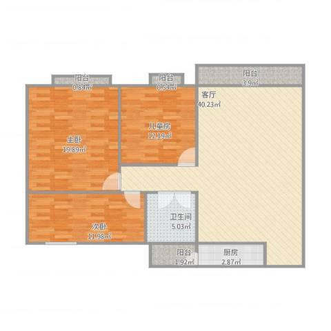 星汇华轩3室1厅1卫1厨134.00㎡户型图
