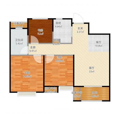 景瑞上府3室1厅1卫1厨111.00㎡户型图
